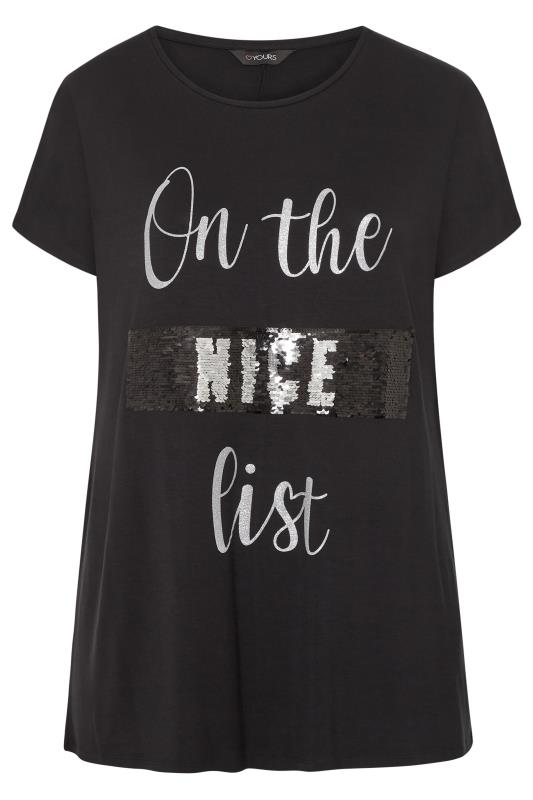 Black Embellished 'Naughty or Nice' Slogan Christmas T-Shirt_F.jpg