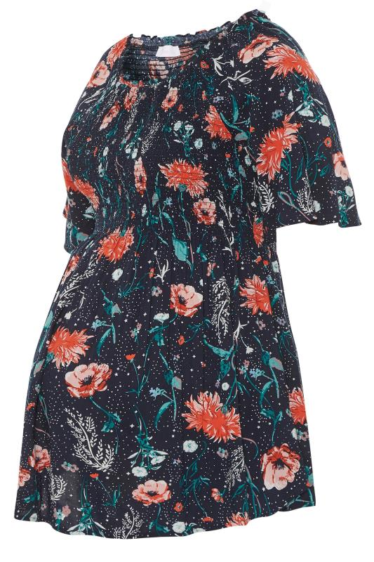 BUMP IT UP MATERNITY Navy Floral Shirred Milkmaid Top_S.jpg
