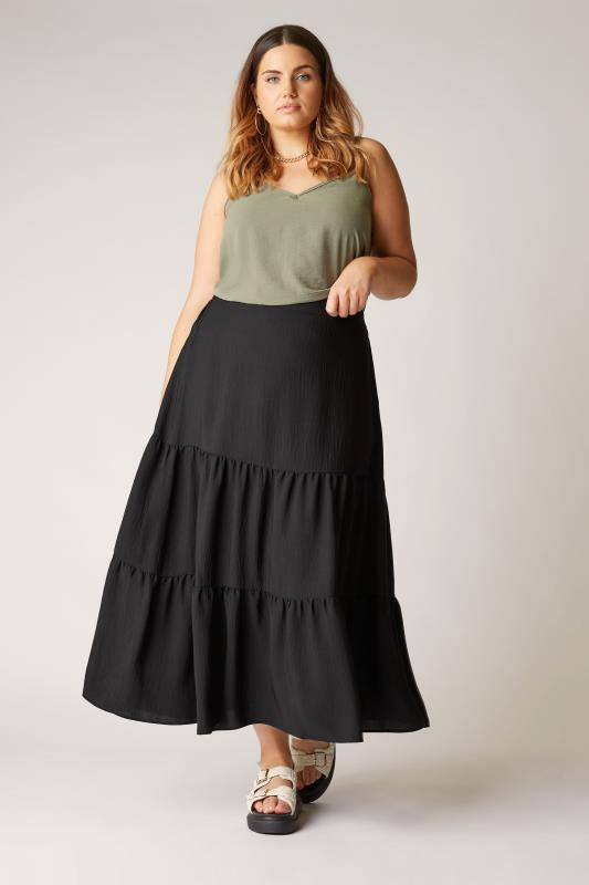 THE LIMITED EDIT Black Tiered Smock Maxi Skirt_A.jpg