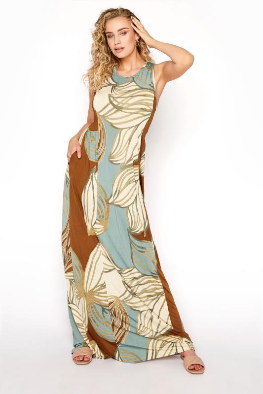 LTS Multicoloured Leaf Print Panelled Sleeveless Maxi Dress_A.jpg
