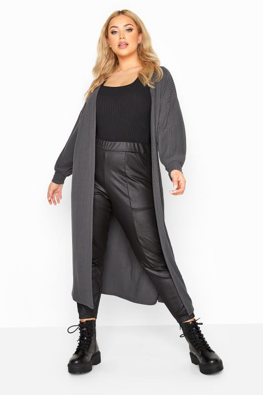 LIMITED COLLECTION Charcoal Grey Balloon Sleeve Brushed Midi Cardigan