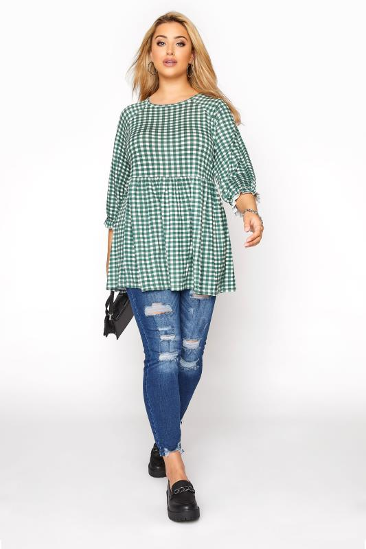 LIMITED COLLECTION Green & White Gingham Smock Top_B.jpg