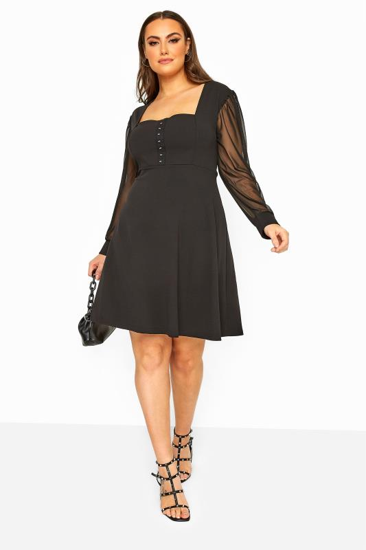 Tallas Grandes LIMITED COLLECTION Black Milkmaid Mesh Sleeve Skater Dress