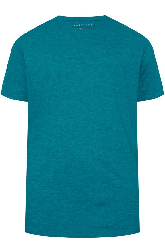 Plus Size Casual / Every Day BadRhino Ocean Blue Marl Embroidered Logo T-Shirt