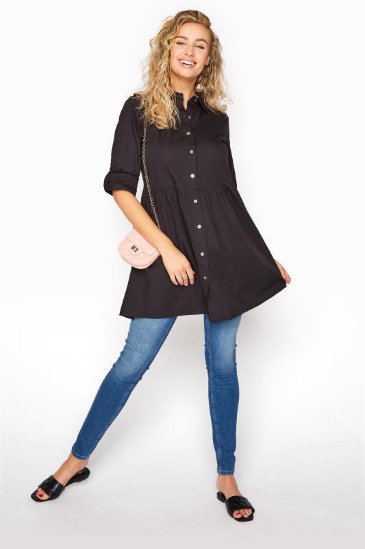 LTS Black Smock Turn Up Sleeve Cotton Shirt