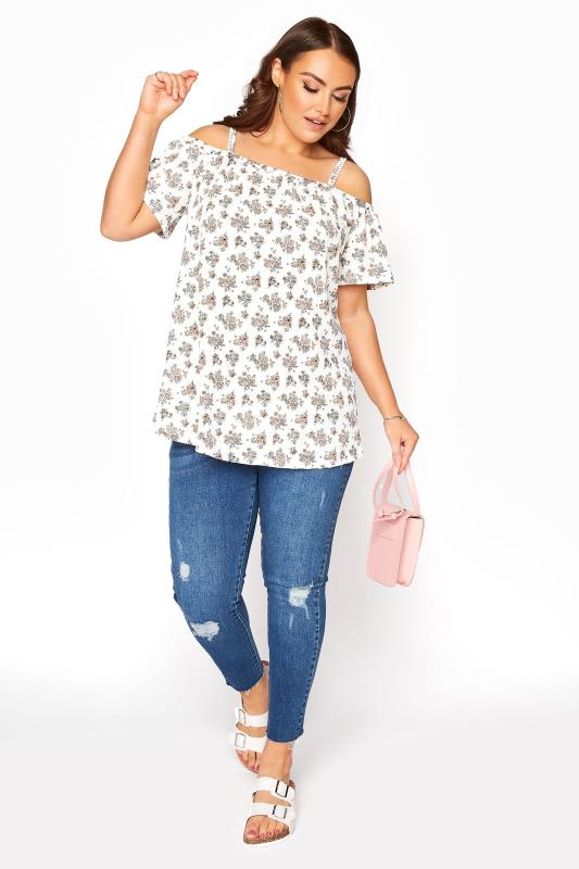 Ivory Ditsy Cold Shoulder Swing Top