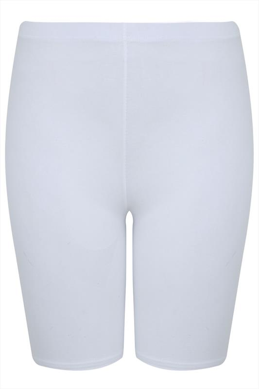 White Cotton Essential Cycling Shorts