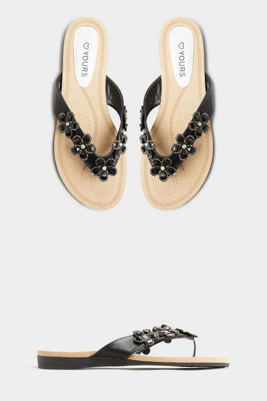 Black Flower Gem Sandals in Regular Fit_split.jpg