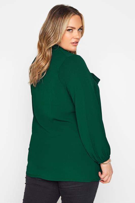 YOURS LONDON Forest Green Bow Blouse_C.jpg