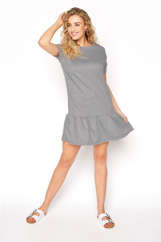 LTS Light Grey Marl Jersey Sweat Frill Hem Dress_B.jpg