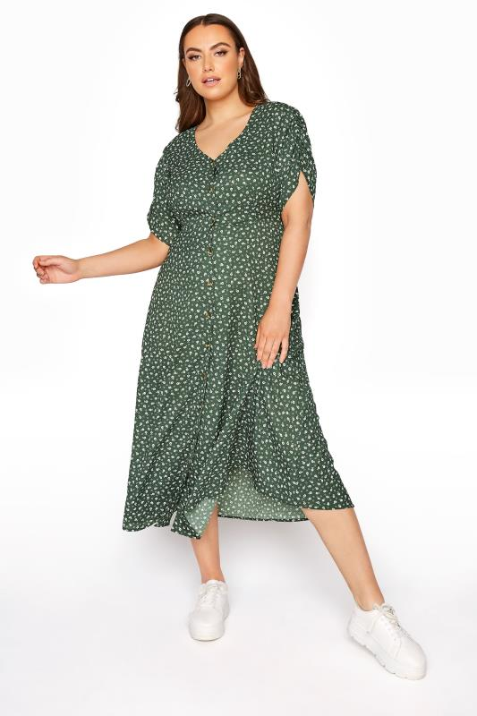 Plus Size  LIMITED COLLECTION Sage Ditsy Maxi Tea Dress