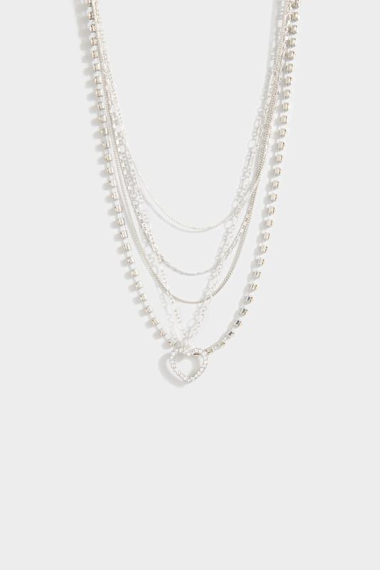 Yours Silver Four Tier Heart Necklace