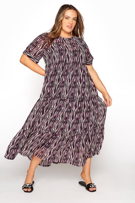 Tallas Grandes LIMITED COLLECTION Black Zebra Print Tiered Maxi Dress