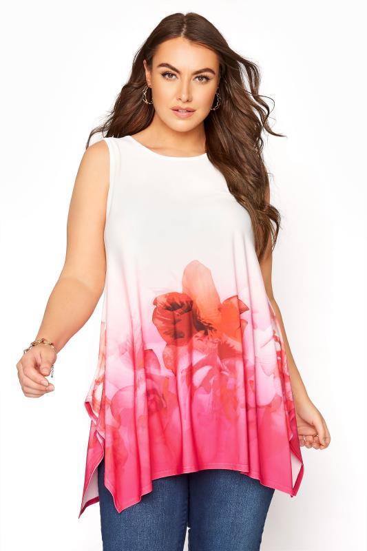 Großen Größen  YOURS LONDON White Floral Border Sleeveless Hanky Hem Top