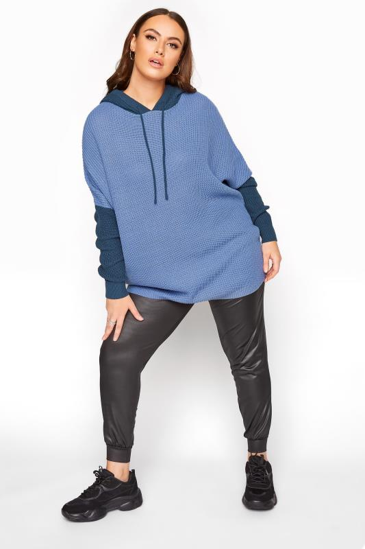 Dusty Blue Colour Block Oversized Knitted Hoodie