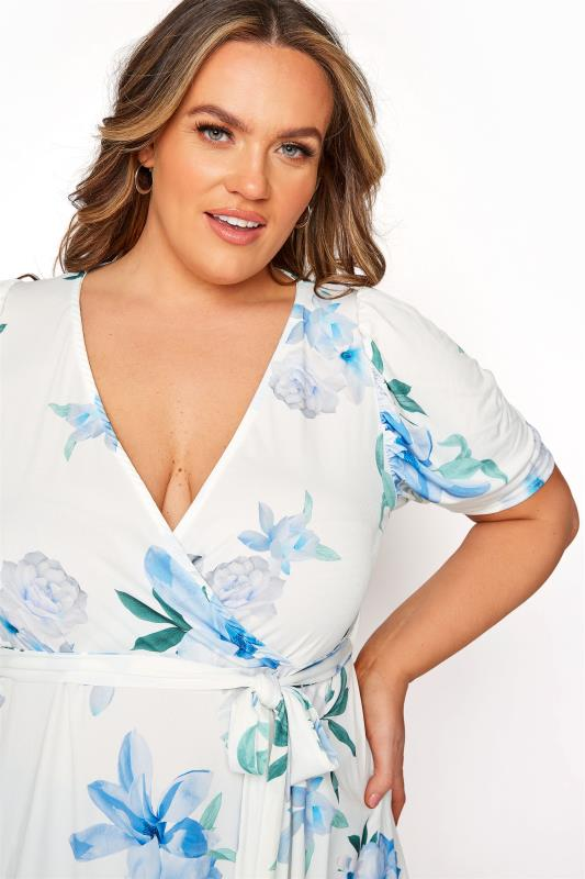 YOURS LONDON White Floral Puff Sleeve Wrap Top_D.jpg