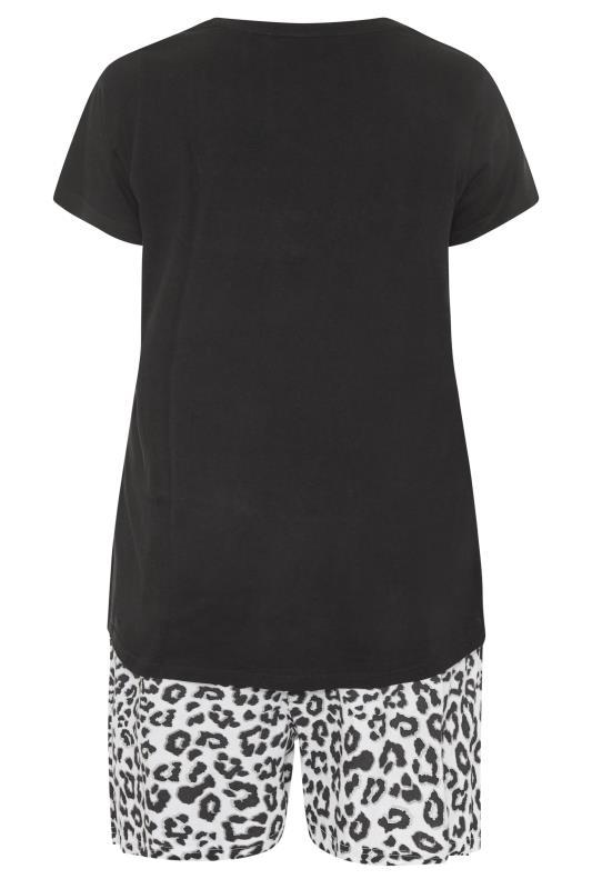 Black Leopard Print Heart Pyjama Shorts Set_BK.jpg