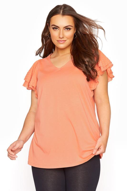 Plus Size  Orange Frill Sleeve T-Shirt