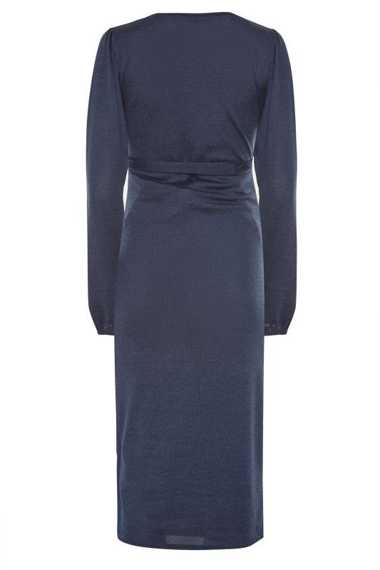 LTS Maternity Navy Wrap Ruched Midi Dress_BK.jpg
