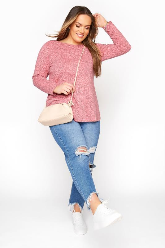 Pink Leopard Print Long Sleeve Top