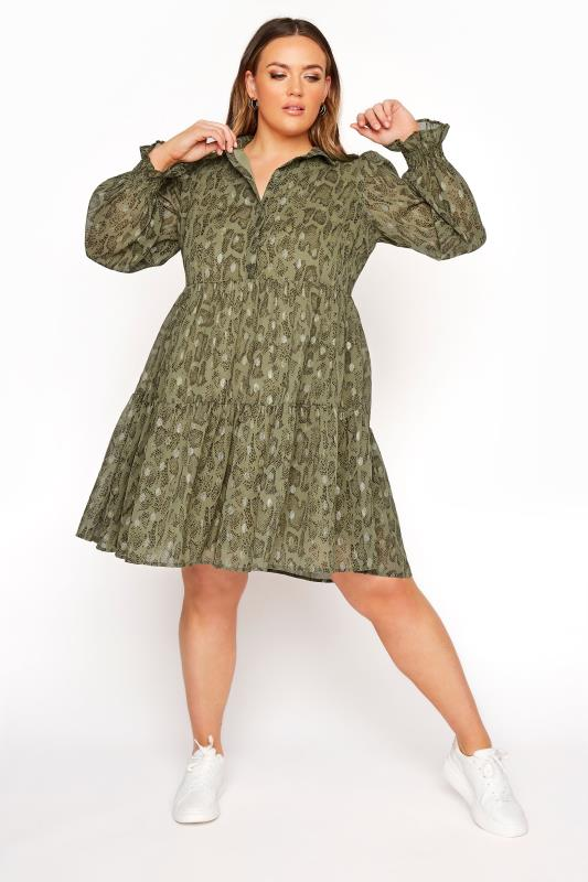 Plus Size  LIMITED COLLECTION Khaki Foil Snake Tiered Shirt Dress