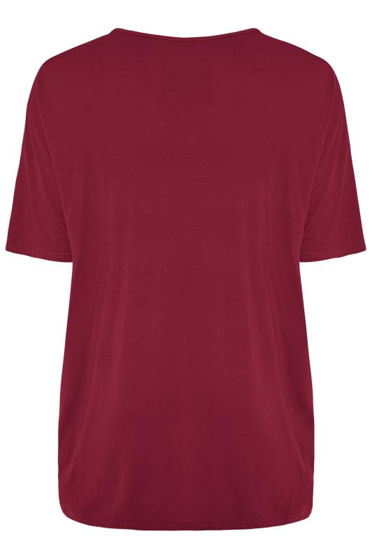 Wine Red Jersey Oversized T-Shirt