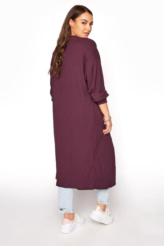 LIMITED COLLECTION Plum Balloon Sleeve Brushed Maxi Cardigan_C.jpg