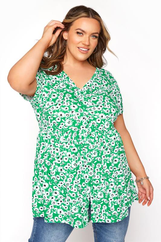 Plus Size  Green Floral Button Through T-Shirt