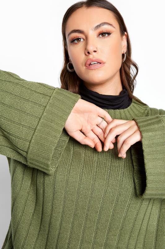 Khaki Ribbed Wide Sleeve Knitted Jumper_D.jpg