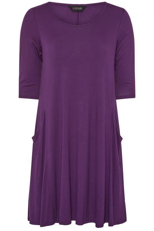 Purple Drape Pocket Dress