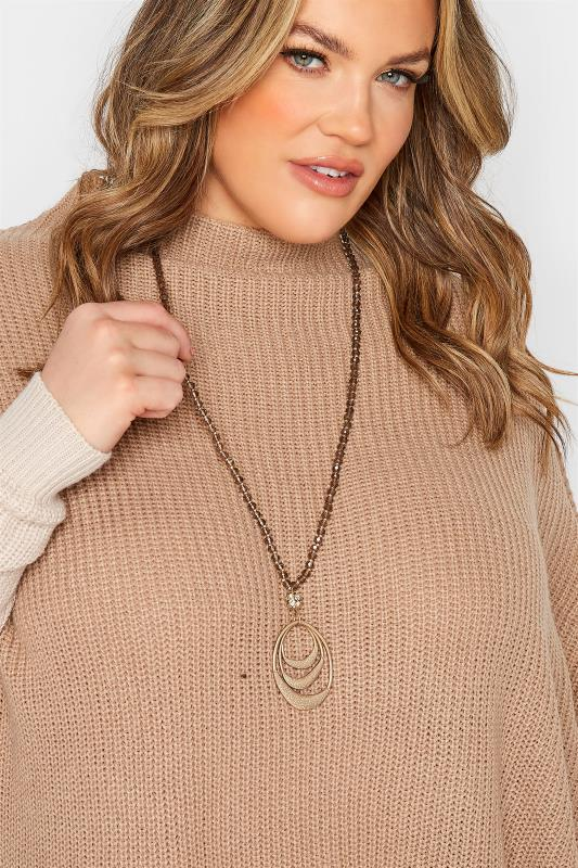 Plus Size  Gold Beaded Oval Pendant Necklace