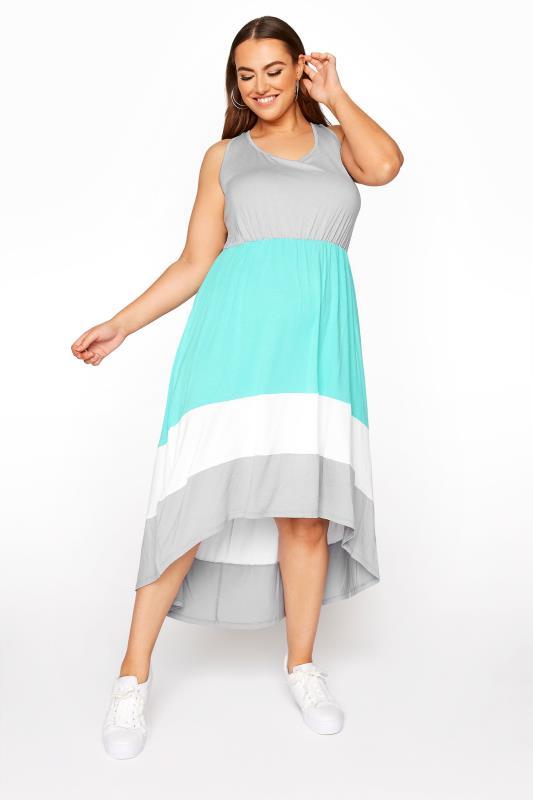 Plus Size  Grey Colour Block Dipped Hem Sleeveless Midi Dress