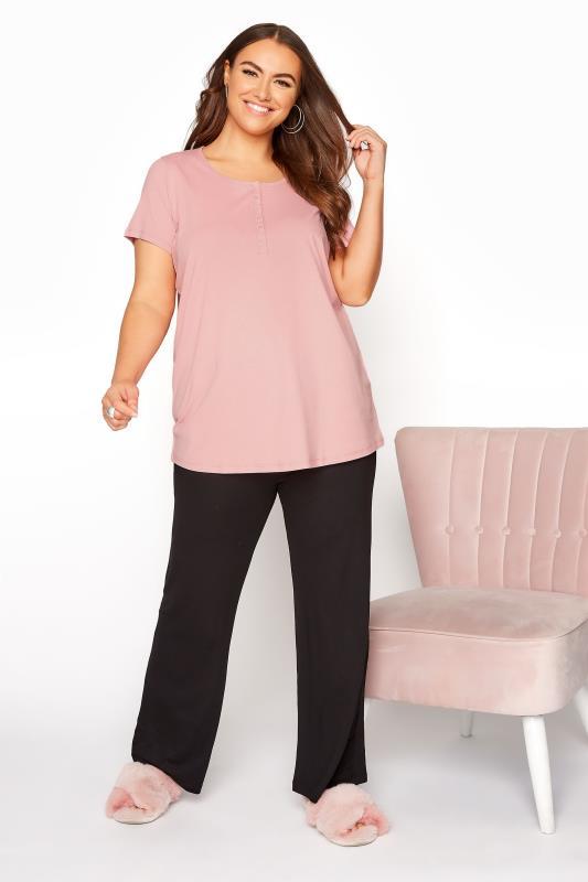 Pink Button Scoop Neck Pyjama Top_B.jpg