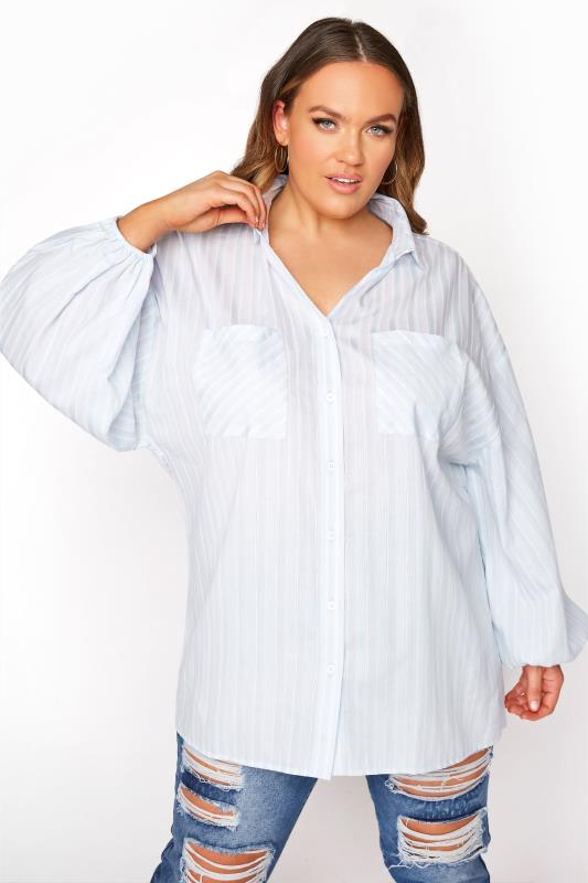 Plus Size  LIMITED COLLECTION Blue Stripe Balloon Sleeve Shirt