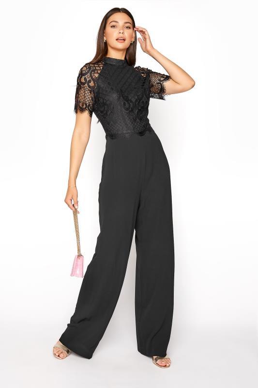 LTS Black Lace Sleeve Jumpsuit