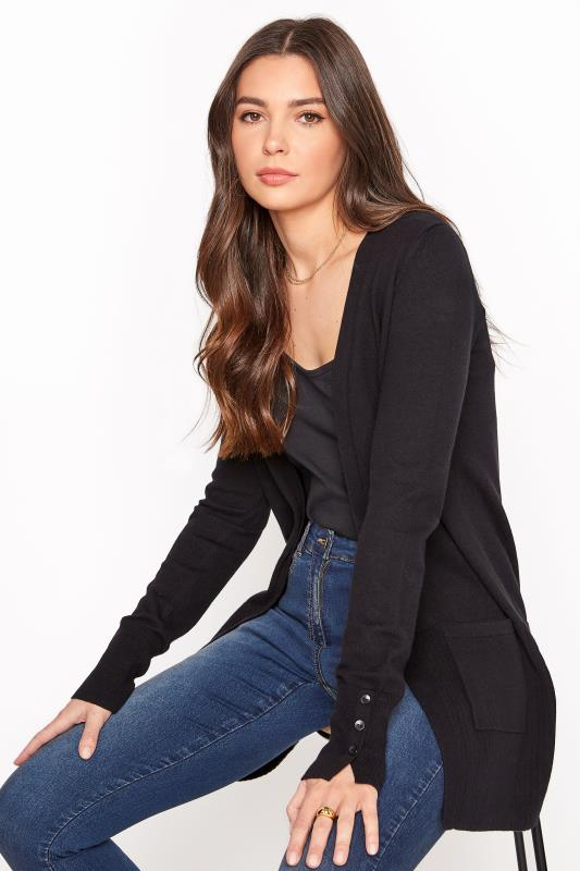 Tall  Black Cotton Ribbed Trim Cardigan