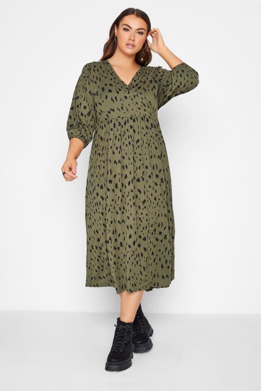 Plus Size  Khaki Animal Markings Midaxi Wrap Dress