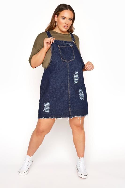 Plus Size  LIMITED COLLECTION Dark Blue Distressed Pinafore Dress