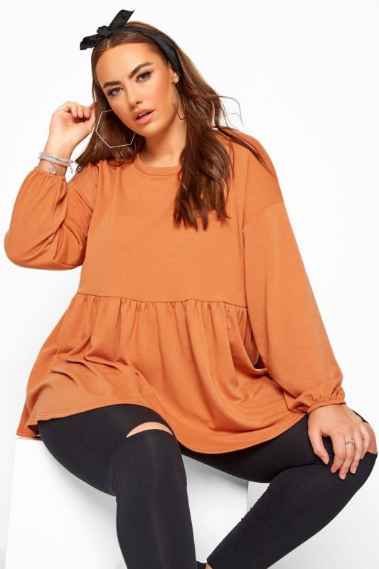 Plus Size Casual / Every Day Rust Peplum Sweatshirt