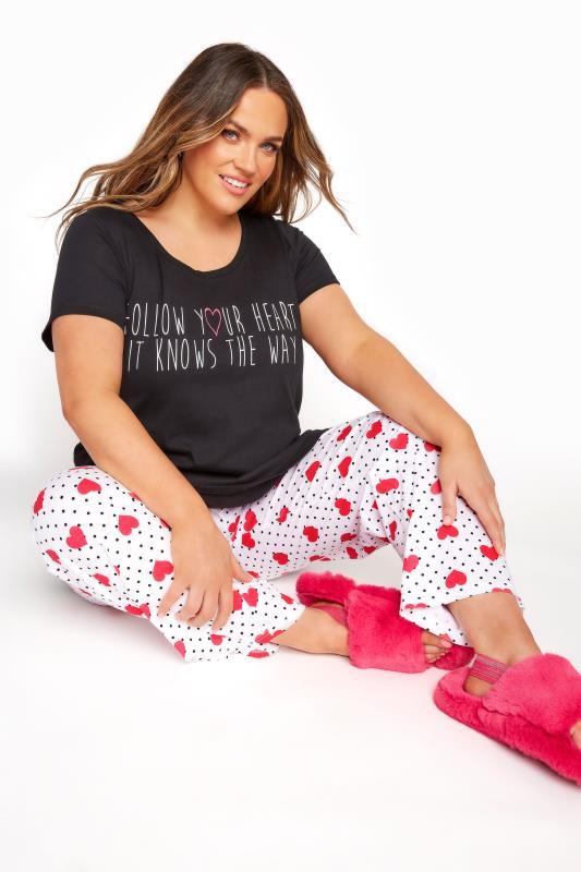 Plus Size  Black 'Follow Your Heart' Slogan Pyjama Set