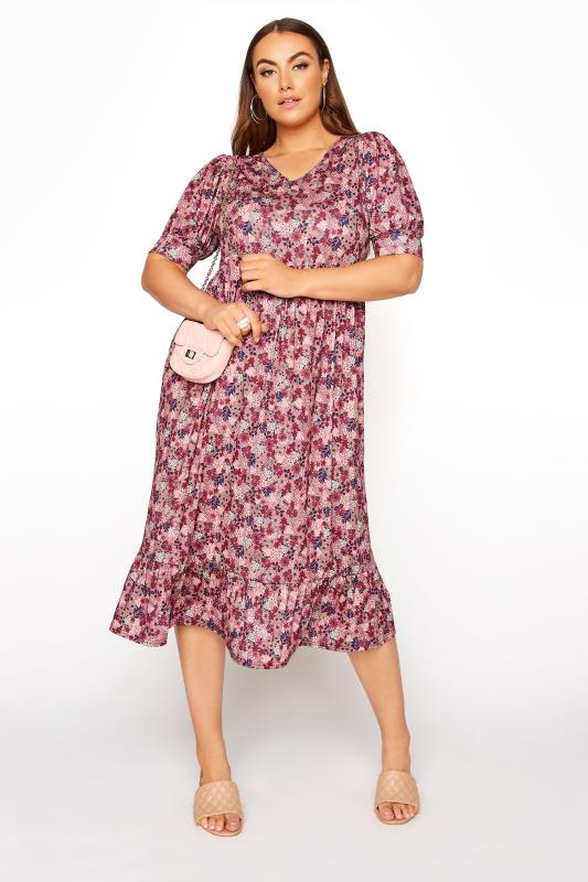 YOURS LONDON Pink Ditsy Tiered Dress_B.jpg