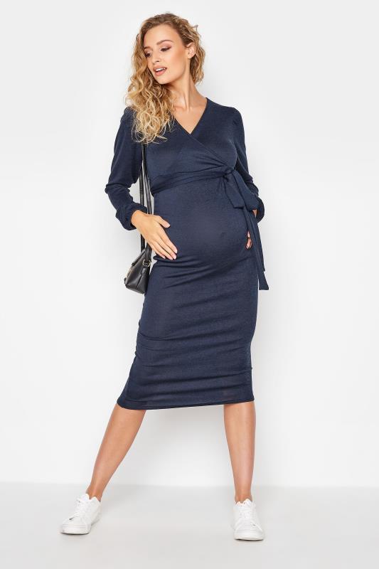 LTS Maternity Navy Wrap Ruched Midi Dress_B.jpg