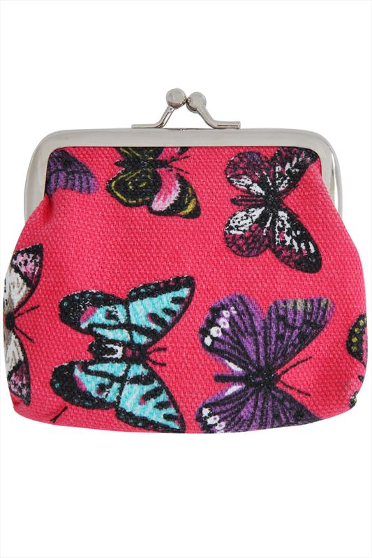 Purses Pink And Multi Butterfly Print Coin Purse