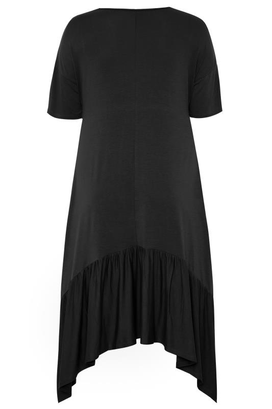 Black Frill Hanky Hem Dress