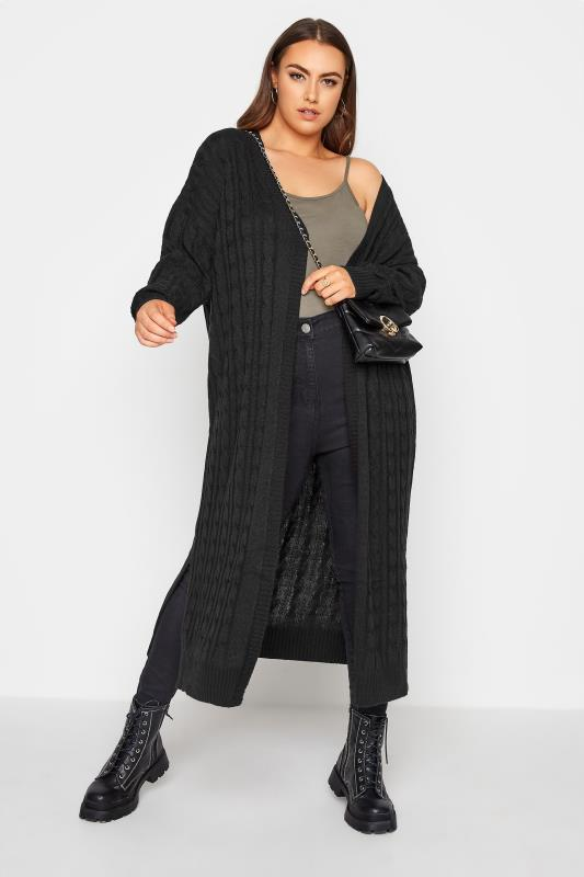 Black Cable Knitted Maxi Cardigan_B.jpg