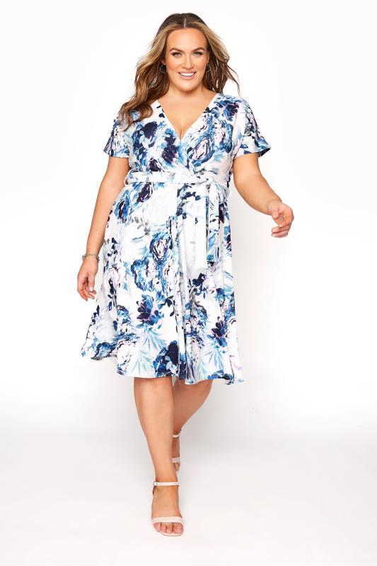 Plus Size  YOURS LONDON Blue Floral Skater Dress