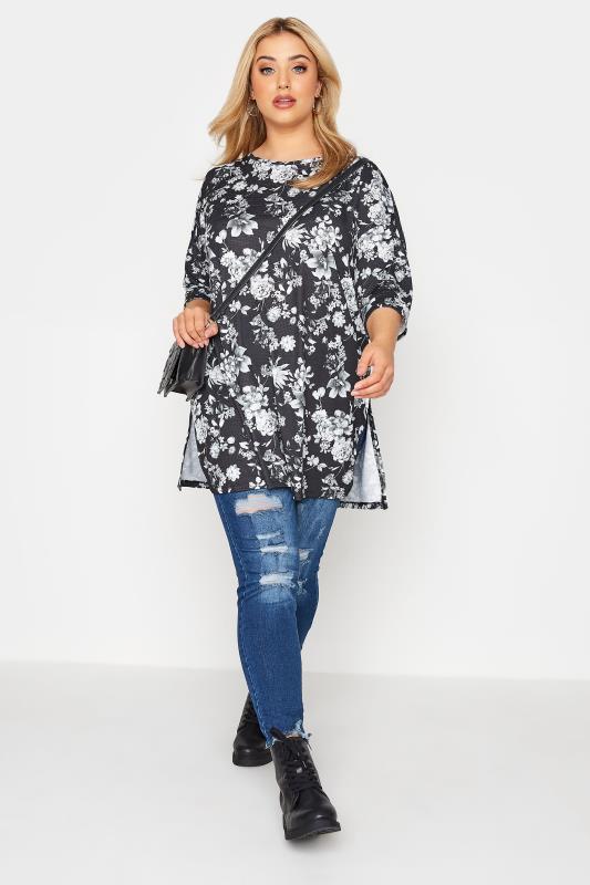 Black Floral Print Side Split Tunic_B.jpg