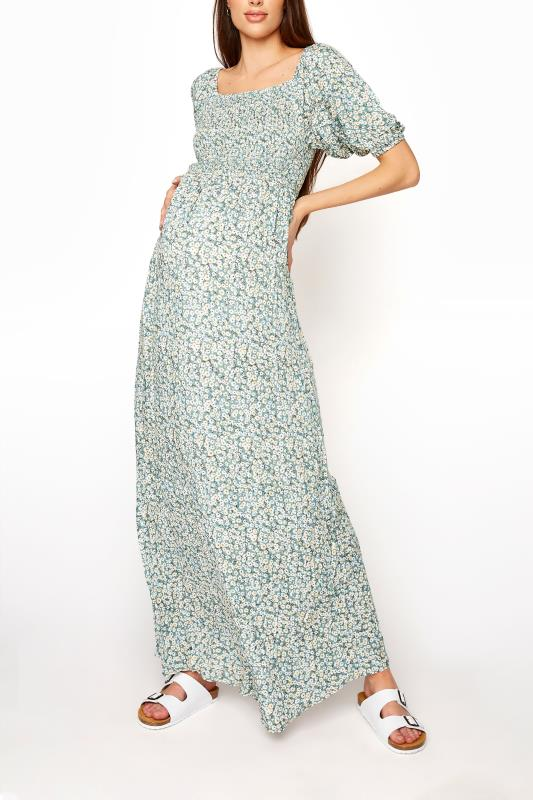 LTS Maternity Sage Green Ditsy Shirred Balloon Sleeve Maxi Dress