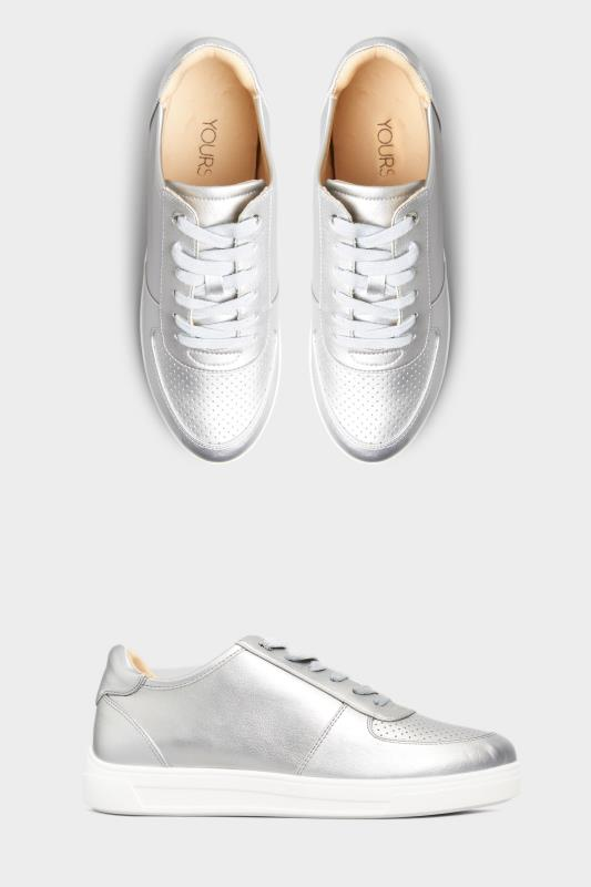 Silver Vegan Leather Lace Up Trainers In Extra Wide Fit_split.jpg