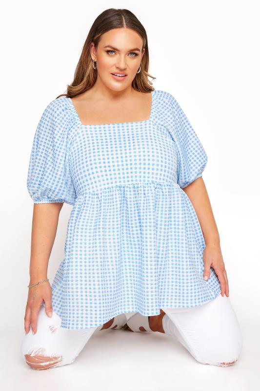 LIMITED COLLECTION Blue Gingham Milkmaid Top_A.jpg